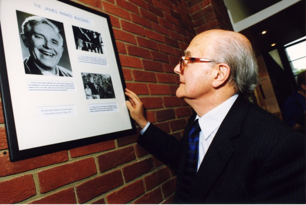 Ian looking at a picture of James Parkes at the Parkes Institute