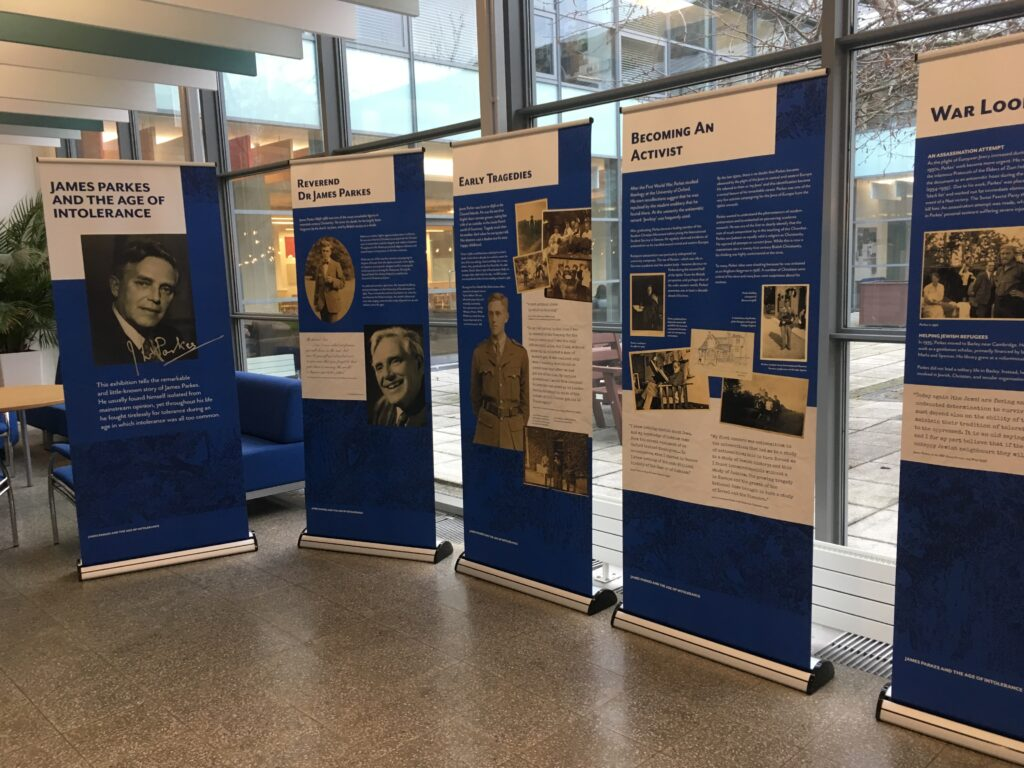 4 large banner posters displying the life of James Parkes